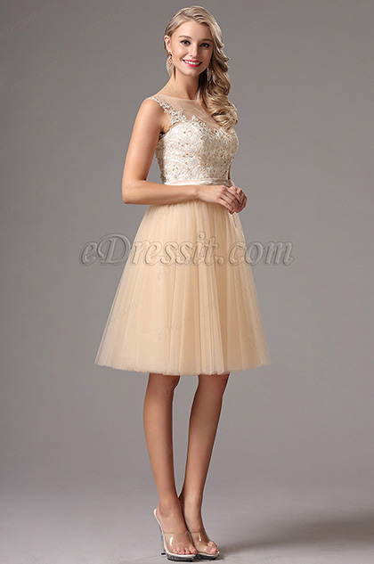 Edressit Sleeveless Lace Beaded Top Cocktail Party Dress