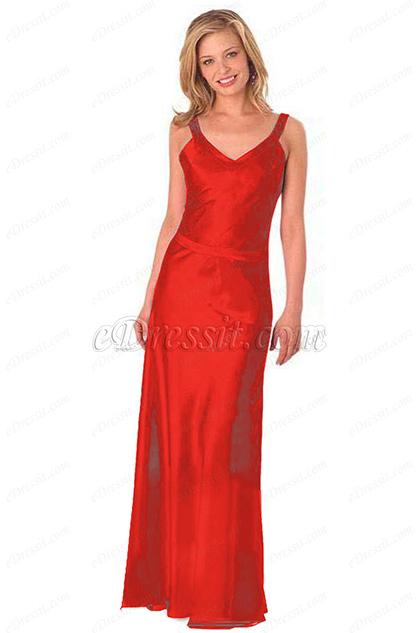 V Cut Red Formal Dress Evening Dress (H00290103-2)