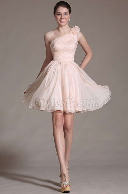 Pink One Shouder Flowers Cocktail Dress (C04141301)
