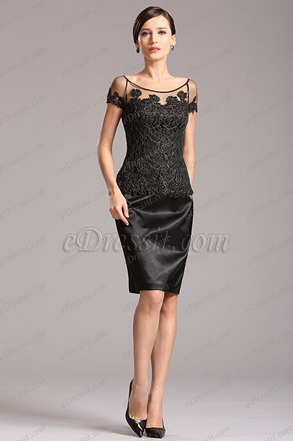 Vestido Corto Para Madre Corte Redondo Encaje Negro (X26150200)