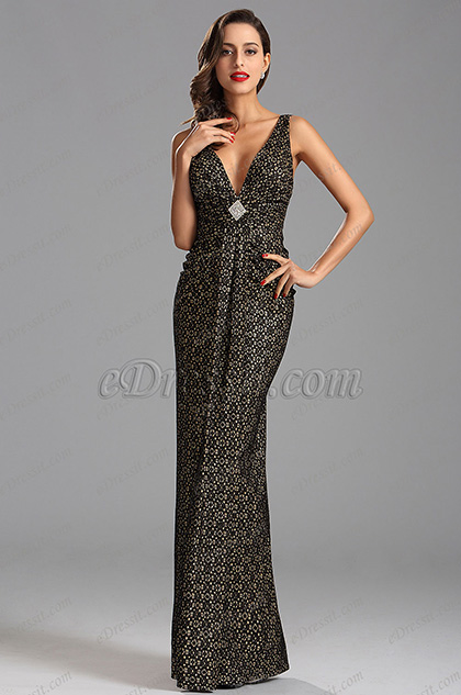 Plunging Neckline Pleated Waistband Formal Evening Dress (X00160000)