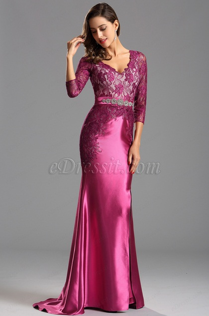 Long Lace Sleeves Hot Pink Formal Dress Prom Gown (X26152512)