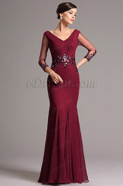V Neck Long Sleeves Mother of the Bride Dress (26160512)