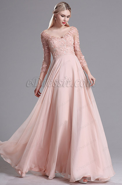 eDressit Pink 3/4 Sleeves V Neck Summer Evening Dress (02163701)