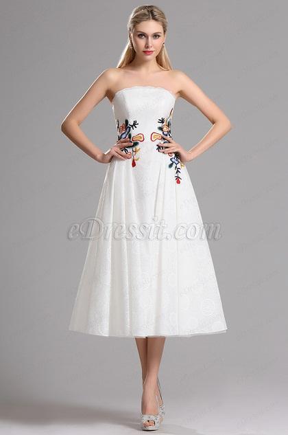eDressit Strapless Blumenstickerei Hochzeit Abendkleid (04161607)