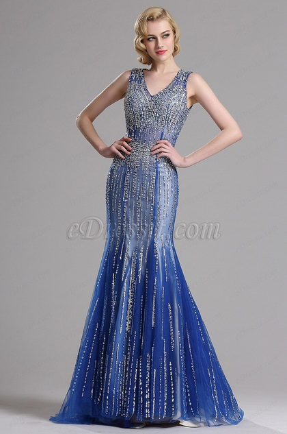 eDressit Sparkling Plunging Neck Blue Formal Evening Dress (36160458)