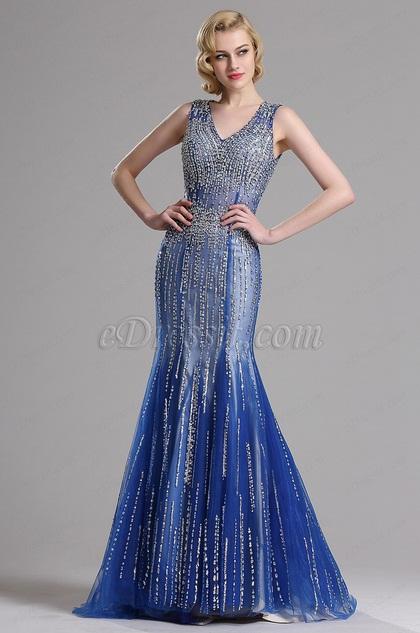 eDressit Sparkling Plunging Neck Blue Formal Evening Dress (36160458)