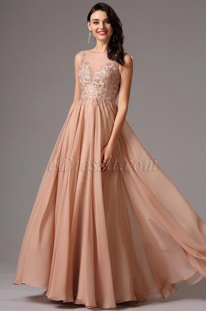 Ärmellos Tiefes Ausschnitt Rosig-Brownes Abendkleid(02161446)