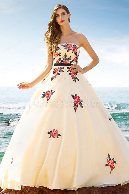 Vintage Strapless Embroidered Beige Ball Gown Formal Dress (02160214)