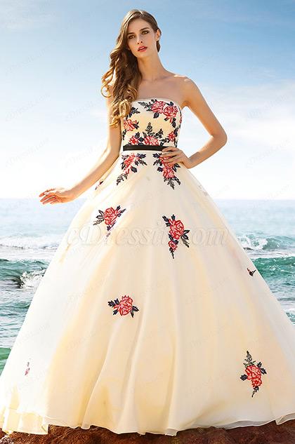 Vintage Trägerlos Bestickt Beige Ball Formal Kleid  (02160214)