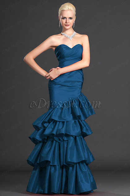 Strapless Sweerheart Blue Evening Gown (H00109602)