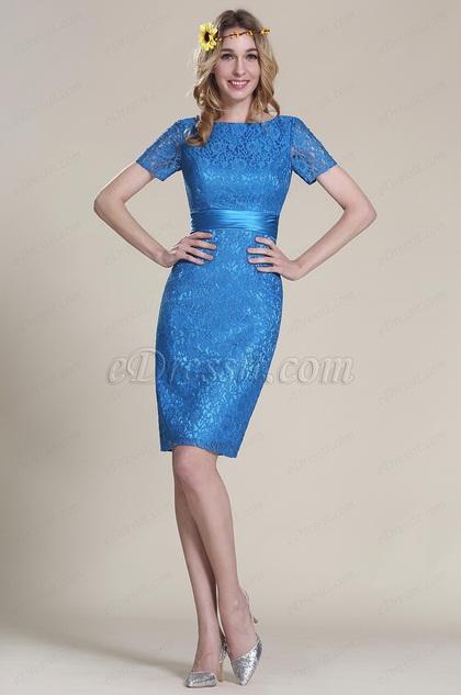 Short Sleeves Blue Lace Bridesmaid Dress (07152305)