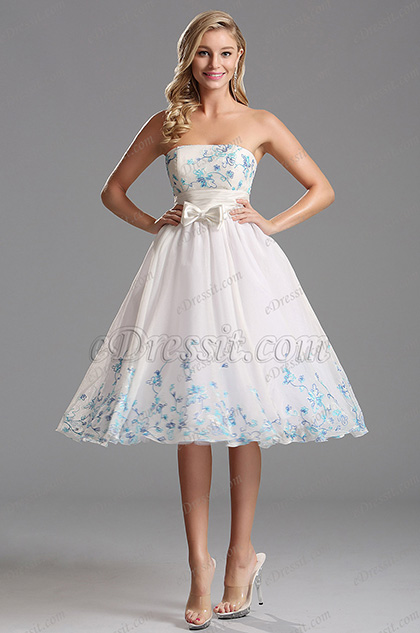 flattering strapless white tea length party dress x04135107