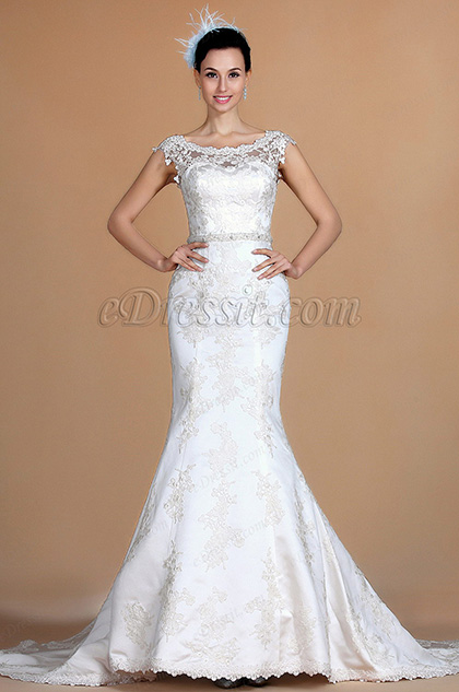 Bateau Neckline Lace Mermaid Wedding Dress (C37140207)