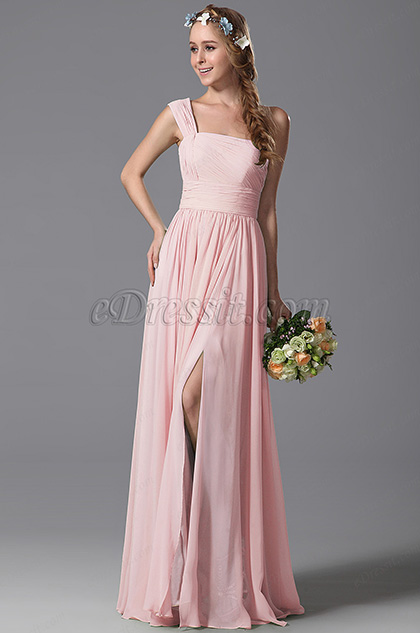 One Shoulder Slit Pink Bridesmaid Dress Evening Dress (07156901)
