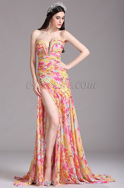 eDressit Stunning Strapless Sweetheart Floral Printed Summer Dress (X00120525)