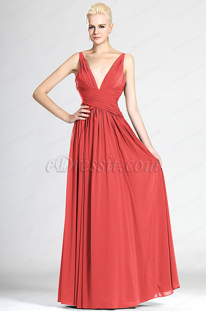 V-cut Red Evening Dress Bridesmaid Dress (HW00124108)