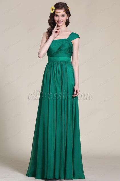 Robe demoiselle d 39 honneur longue verte asym trique 07152504 for Robes de demoiselle d honneur aqua pour mariage sur la plage