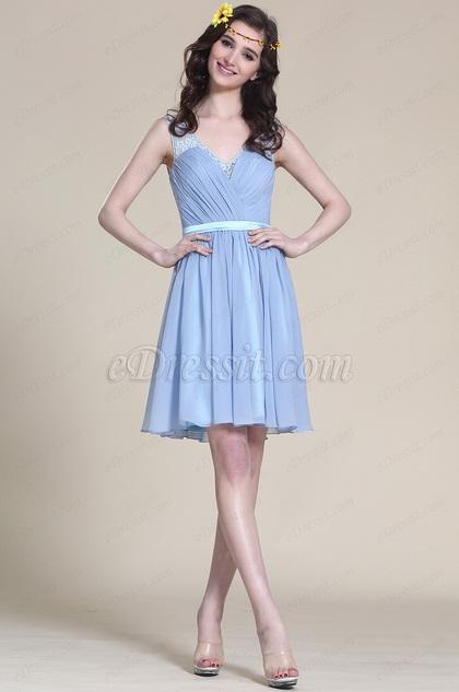 Ärmellos Blau Cocktail Kleid Brautjungfernkleid (07152405)