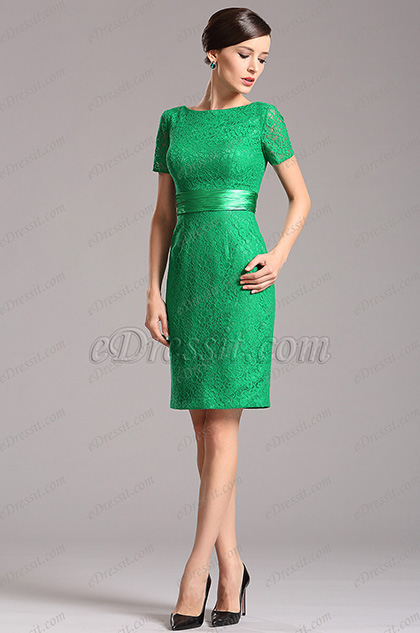 Short Sleeves Overlace Green Party Dress Cocktail Dress (07152304)