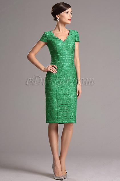 Vestido pra Madre Una Pieza Verde Simple Elegante (26161704)