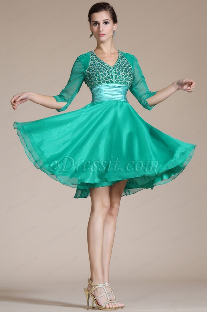 Green V-Neck Beaded Top Cocktail Dress(C35140311) (C35140311)