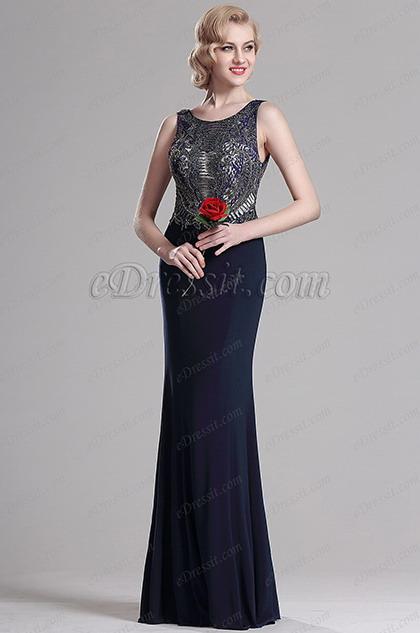 Azul Oscuro Vestido Formal Largo Sin Tirante Adornados (36163105)