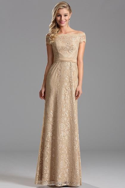 Auf-Schulter Overlace Beige Abendkleid Formal Kleid (X07153214)