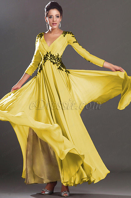 Stunning V Neck Yellow Evening Dress Prom Dress (H02130201)