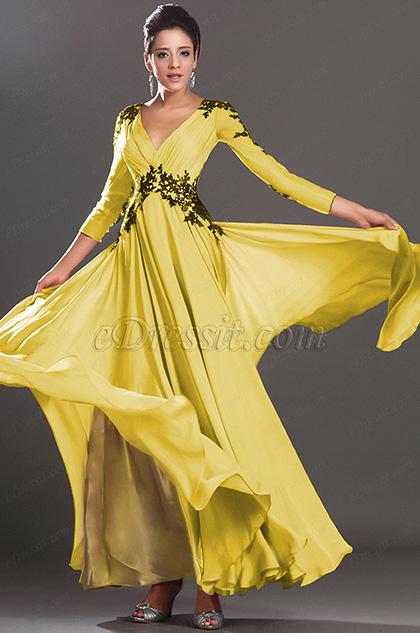 Stunning V Neck Yellow Evening Dress Prom Dress (H02130201)