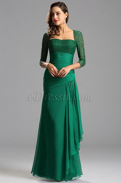 Lace Sleeves Asymmetrical Green Formal Dress Evening Gown C26124904