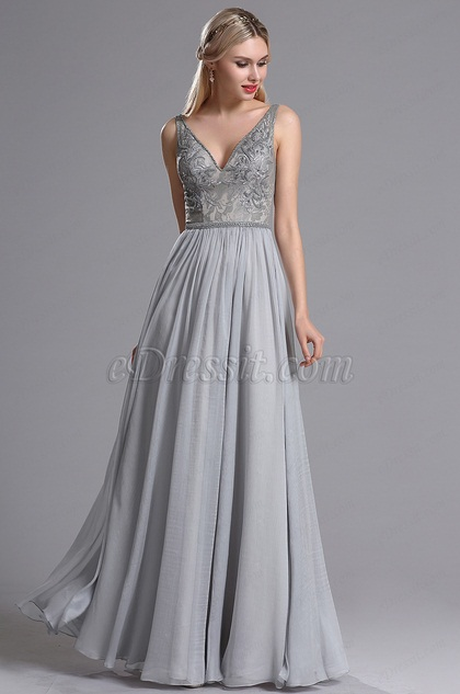 eDressit Grau V-Ausschnitt Abendkleid (00164608)