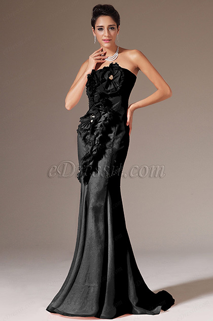 Strapless Black  Mermaid Prom Ball Gown (H02144501)