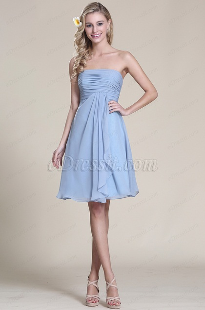 Strapless Blue Cocktail Dress Bridesmaid Dress (07151805)