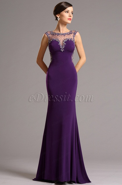 Elegant Purple Formal Gown with Illusion Sweetheart Neck (36161006)