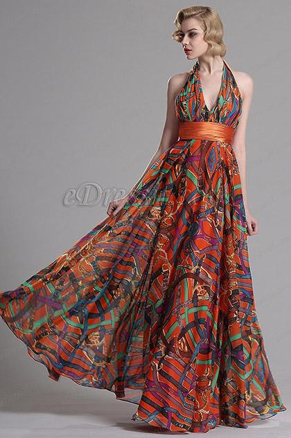 Летнее Вечернее Платье с Принтом Декольте Через Шею (X07158010)