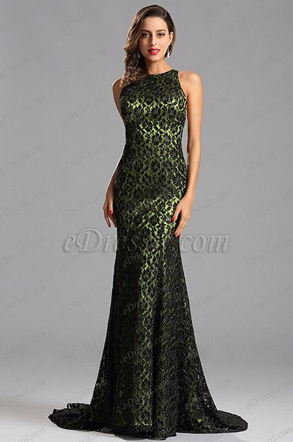 Ärmellos Armeegrün Langes Formal Kleid Abendkleid (X00155255)