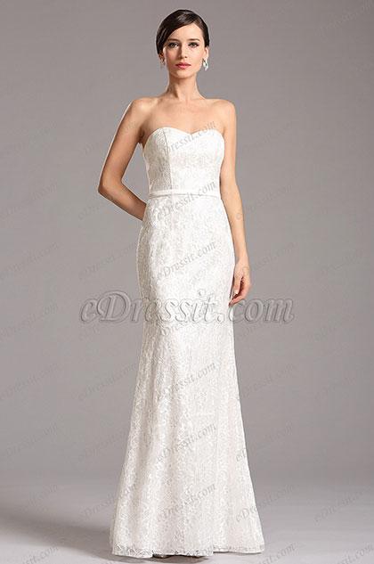 eDressit Strapless Sweetheart White Lace Formal Dress (X07153007)
