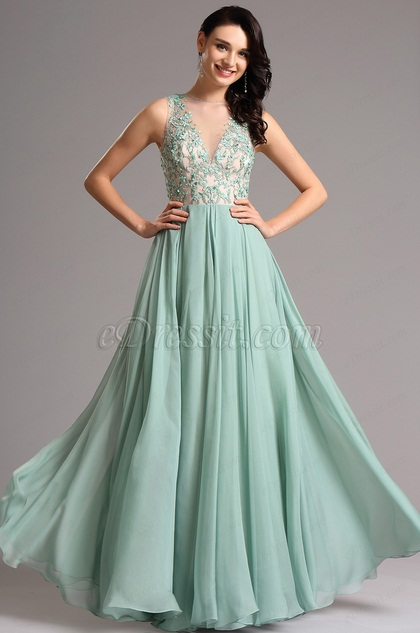 A Line Plunging Illusion Neck Green Evening Dress Formal Gown (00160504)