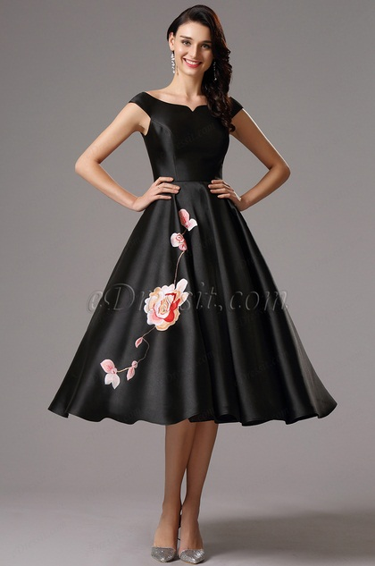 Off Shoulder Black Tea Length Dress Party Dress (04161100)