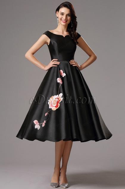 Чёрное Tea Length Платье с Офф Плечами (04161100)