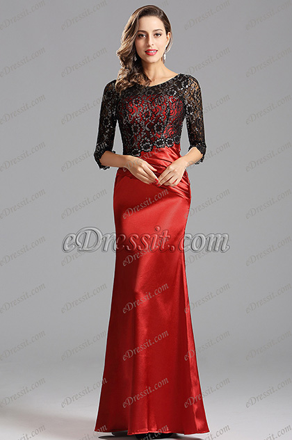 Half Sleeves Lace Bodice Floor Length Red Gown (X02152802)