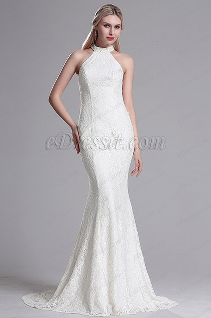 White Lace Halter Mermaid Evening Dress Prom Gown (X00161307-1)