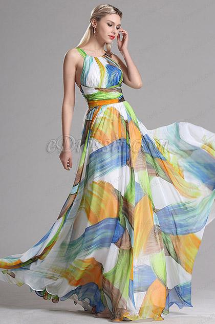 Vestido de Noche Floral para Verano Halter Corte(X07153947)