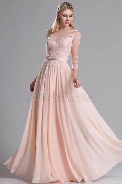 eDressit Pink Illusion Kragen Floral Plissiert Abendkleid (02163101)