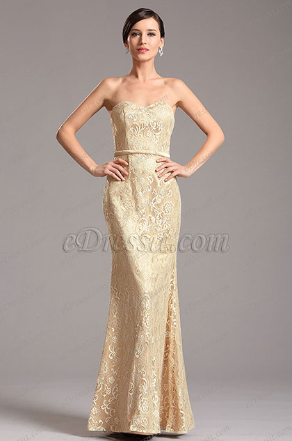 Strapless Sweetheart Lace Bridesmaid Dress Formal Dress (X07153014)