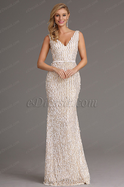 Stylish Plunging Neck Cream Sequin Formal Dress Evening Gown (X00161713)