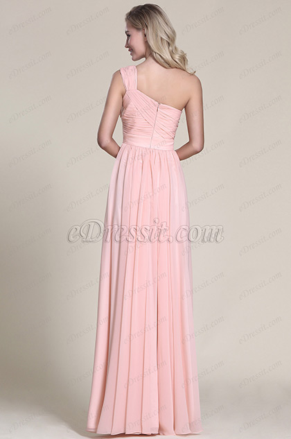 Robe demoiselle d 39 honneur longue rose pastel asym trique for Robes de demoiselle d honneur aqua pour mariage sur la plage