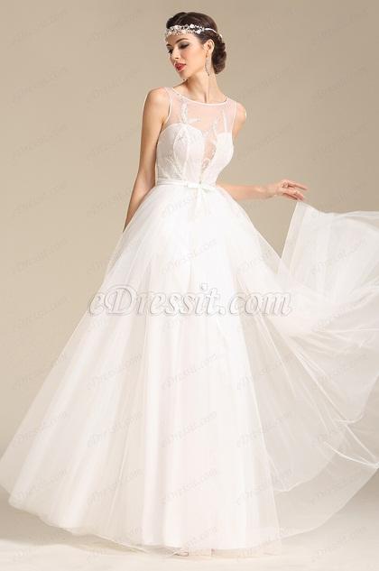 eDressit Anmutig Ärmellos Stickerei Hochzeitkleid Brautkleid(01151807)