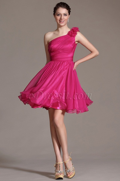Floral One Shoulder Hot Pink Bridesmaid Dress Party Dress (C04141312)
